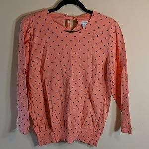 J. Crew coral polka dot sweater
